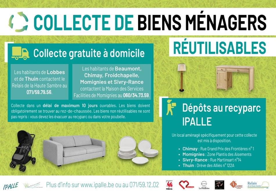 2020 01   collecte de biens réutilisables Sud Hainaut Affiche